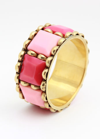 Colour Block Bangle in Pink - Indiverve