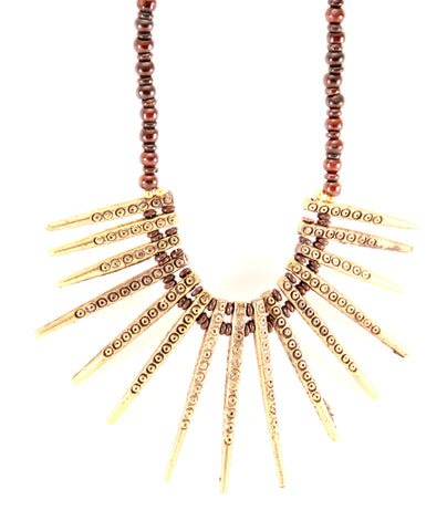 Tribal Spike Necklace in Bronze - Indiverve