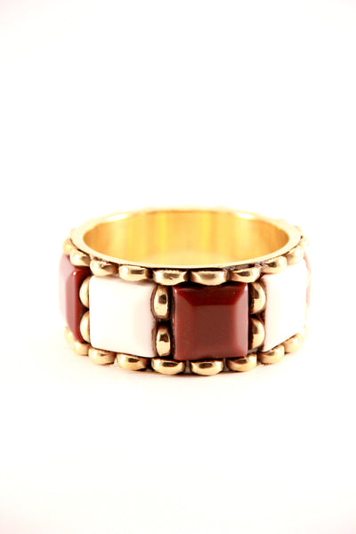 Colour Block Bangle in Brown