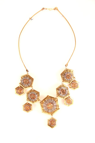 Metallic Woven Necklace Set - Indiverve