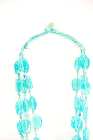 threaded beaded necklace in turquoise
