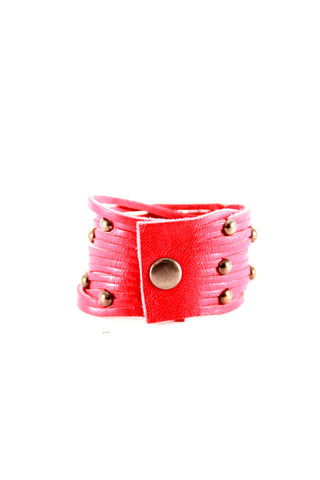 Sliced Leather Cuff with Studs - Indiverve