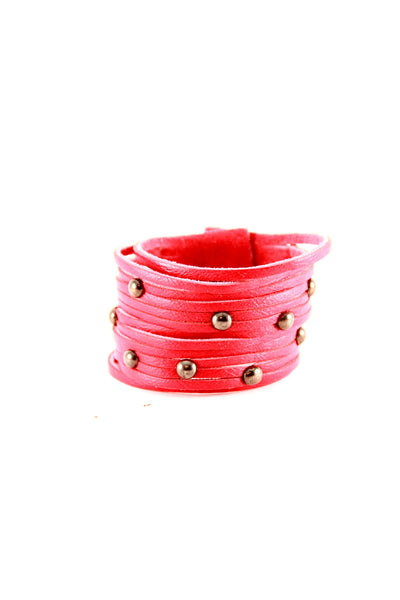 Sliced Leather Cuff with Studs