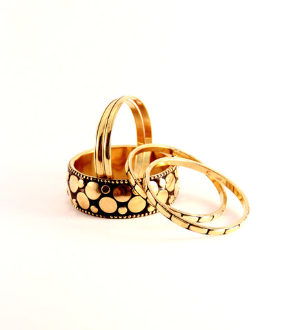 Studded Bangles in Gold and Black - Indiverve