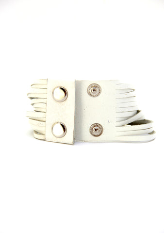 Sliced Leather Cuff in White - Indiverve