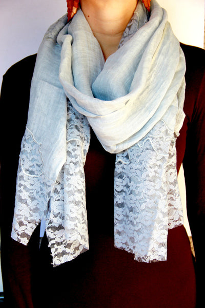 Lace Scarf in Grey Patches