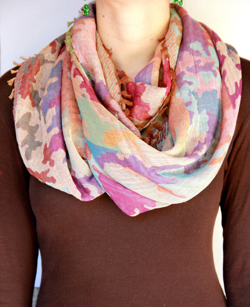 Fringe Scarf in Pink Camouflage