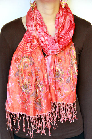 Embroidered Paisley Scarf - Indiverve