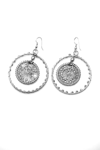 Beaded Silver Hoop Earrings - Indiverve