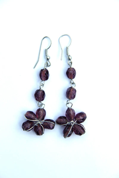 Flower Beaded Earrings in Purple