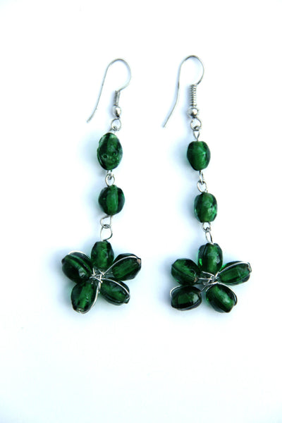 Flower Beaded Earrings in Emerald Green