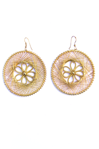 Threaded Flower Earrings in Gold - Indiverve