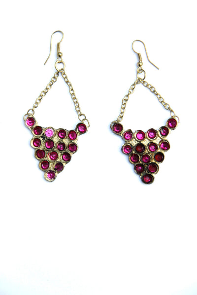 Chandelier Earrings in Fuschia Stones