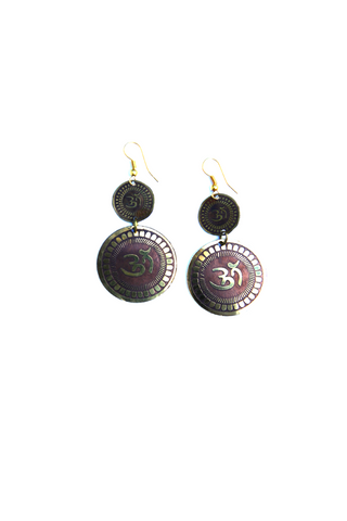 Om Carved Earrings - Indiverve