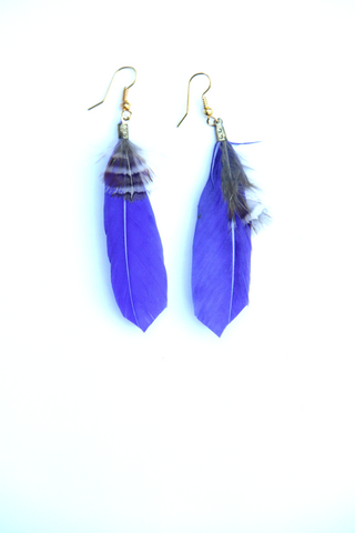Feather Earrings in Indigo Blue - Indiverve