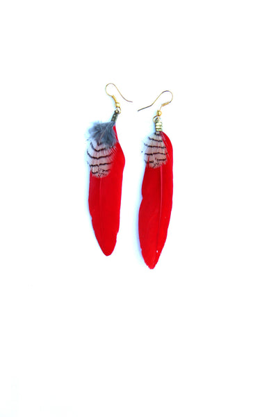 Feather Earrings in Red