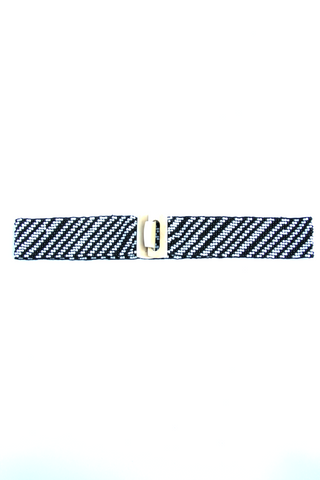 Beaded Belt in Black & White - Indiverve