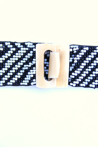 beaded belt in black and white