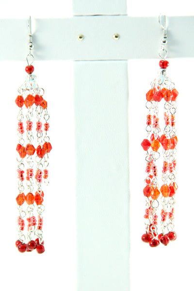 Red Beaded Chandelier Earrings