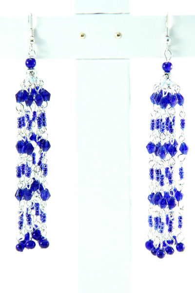 Blue Beaded Chandelier Earrings