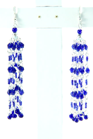 Cascading Beaded Earrings in Blue