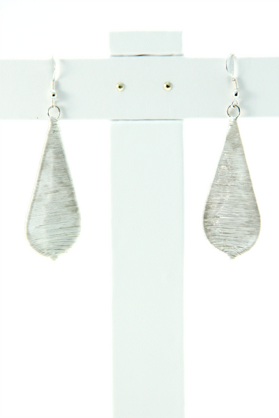 Threaded Teardrop Earrings in Silver