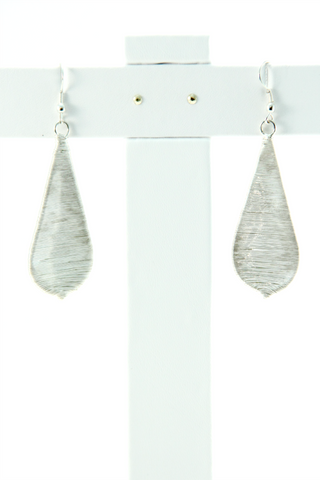 Threaded Teardrop Earrings in Silver - Indiverve