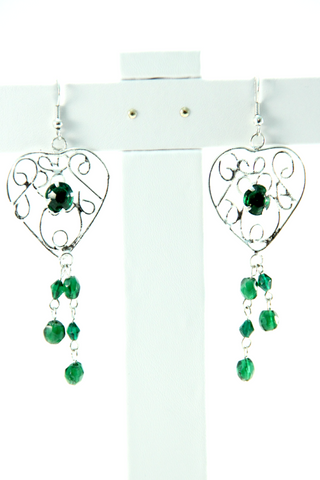 Beaded Chandelier Earrings in Green - Indiverve