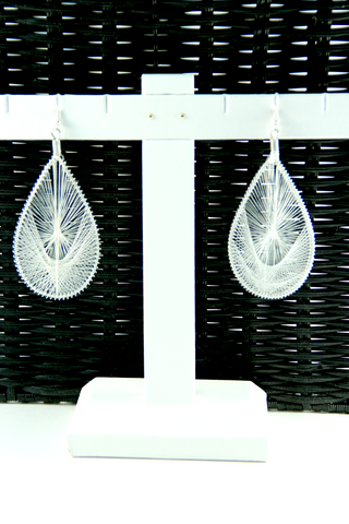 Threaded Earrings in White - Indiverve