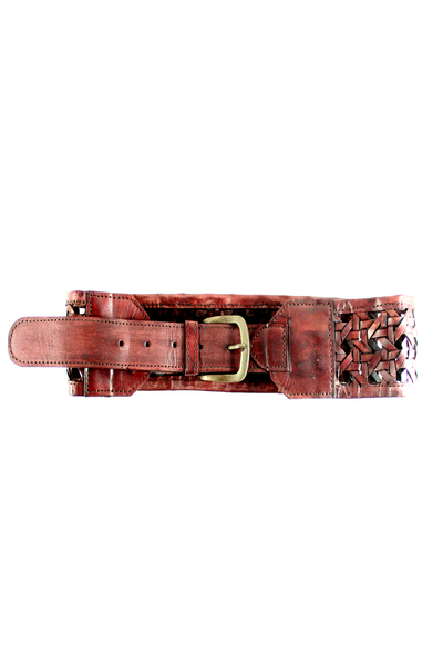Crochet Belt in Brown Leather