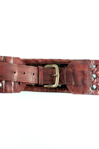 Crochet Belt in Brown Leather - Indiverve