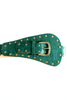 Embellished Leather Belt in Green - Indiverve