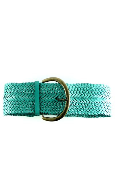 Braided Leather Belt in Mint Green
