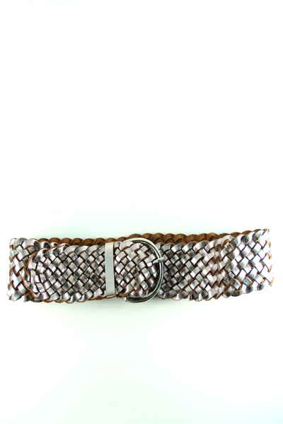 Braided Leather Belt in Metallic