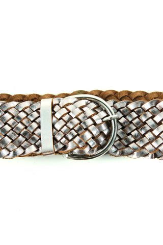 metallic woven belt leather