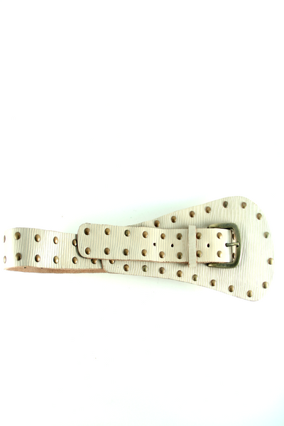 Embellished Leather Belt in Cream