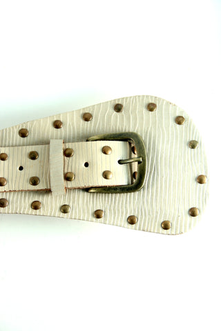 Embellished Leather Belt in Cream - Indiverve