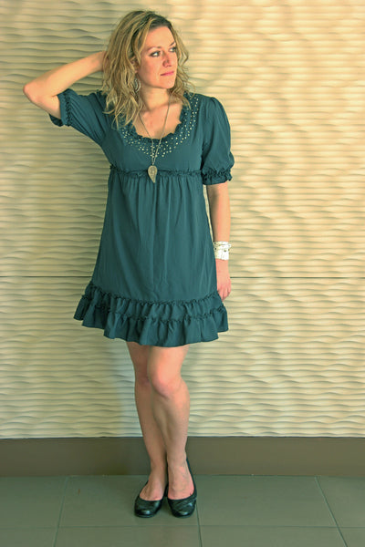 Ruffle Dress in Charcoal Grey