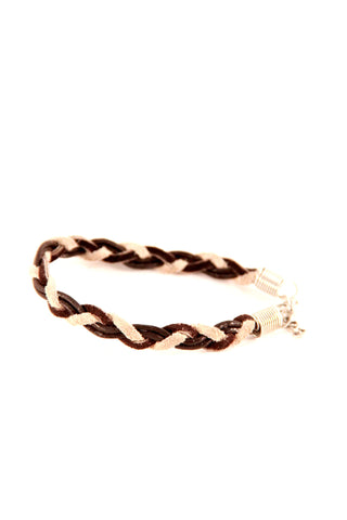 Skinny Braided Bracelet in Leather - Indiverve