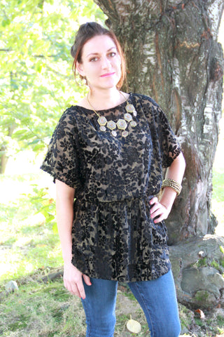 Floral Tunic Top in Black Shimmer