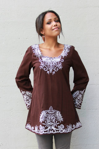 Embroidered Top in Chocolate
