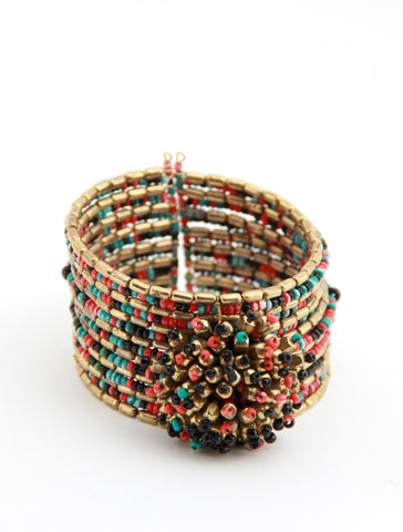 Beaded Cuff in Flower Burst - Indiverve