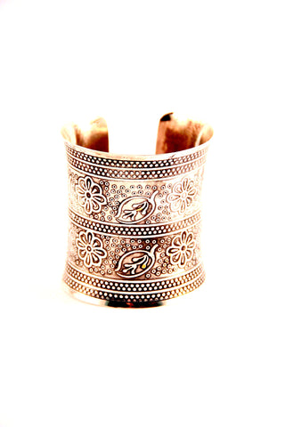 Flower Etched Cuff in silver