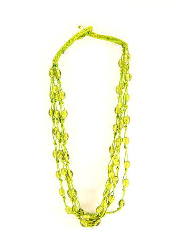 Threaded Necklace in Lime Green - Indiverve