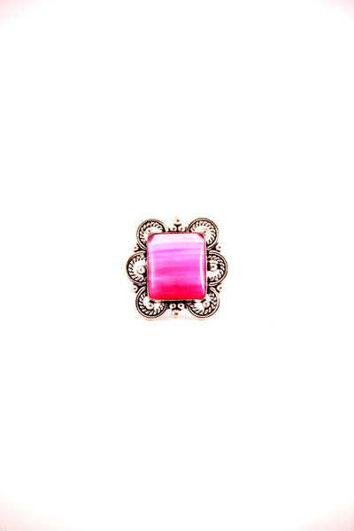 Square Pink Stone Cocktail Ring
