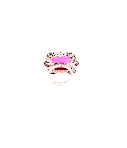 Square Pink Stone Cocktail Ring - Indiverve