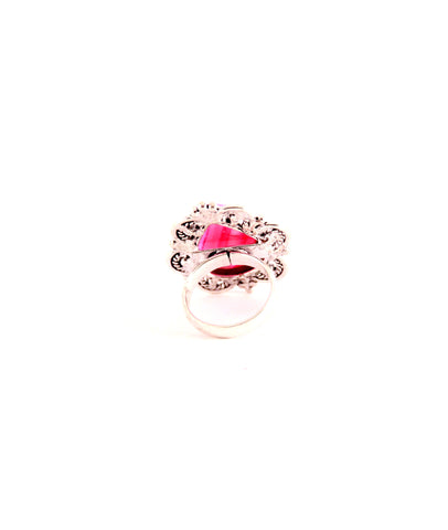 Teardrop Pink Stone Cocktail Ring - Indiverve