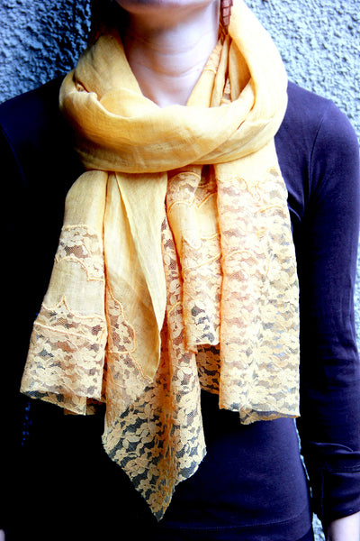 Lace Scarf in Gold Patches