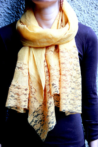Lace Scarf in Gold Patches - Indiverve