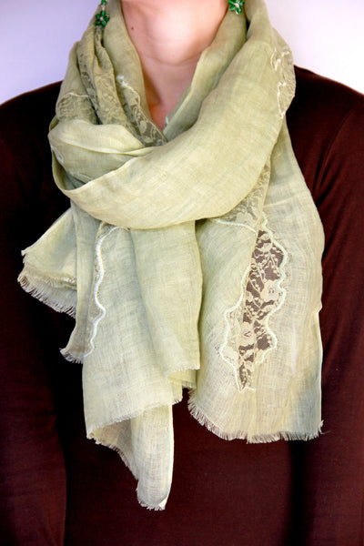 Lace Scarf in Green Patches